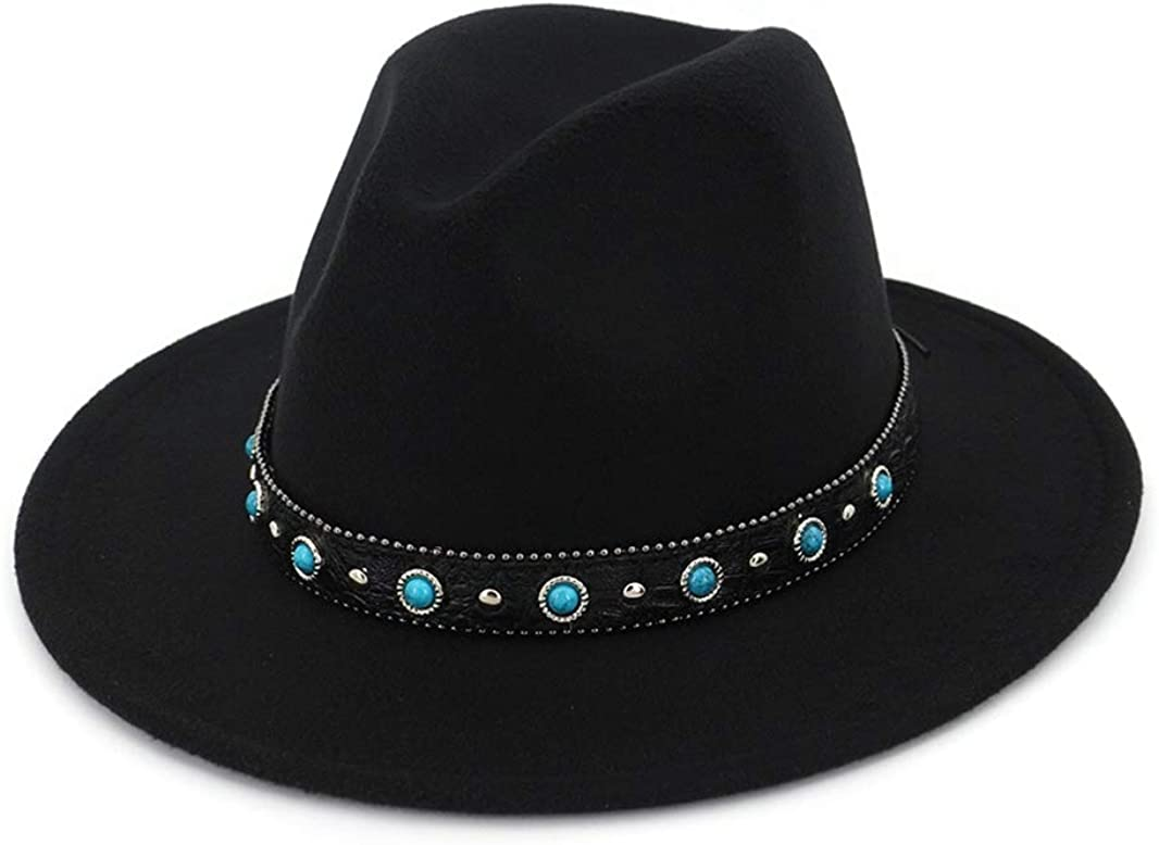 GEPIJPGEKH Trend Felt Jazz Cap Fedora Hat Casual Men Women Band Wide Brim Panama Hat Trilby Bohemian Style Cowboy Hat