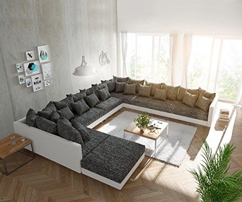 DELIFE Couch Clovis XXL Weiss Schwarz mit Hocker Ottomane Rechts Wohnlandschaft