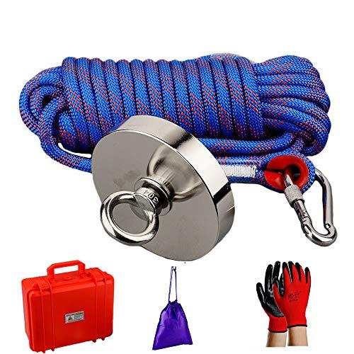 MUTUACTOR Leistungsstarke 600 kg magnetische vertikale magnetische Kraft ziehen Neodym-Angeln Magnet mit Seil, Magnet mit Handschuhen und Safty Box zum Angeln Magnet, Schatzsuche im Fluss