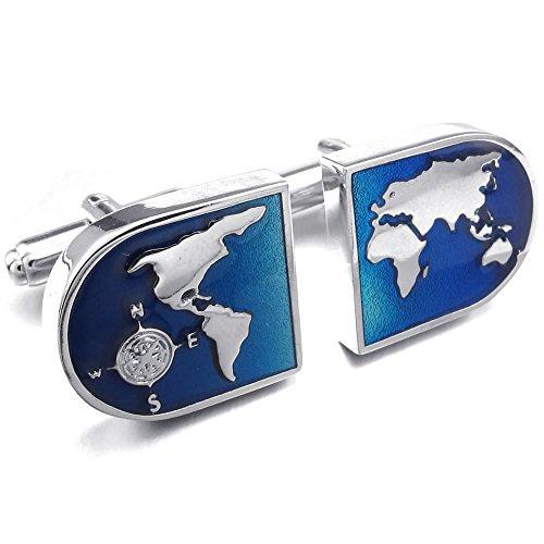 KONOV joyería gemelos de hombre, diseño de mapa del mundo-aleación con chapado de rodio-boda Fantaisie-para hombre, color azul, con bolsa de regalo