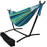 Sunnydaze Brazilian Double Hammock with Stand and Carrying Pouch, 2 Person Portable Bed - for Outdoor Patio, Yard, and Porch (Beach Oasis)