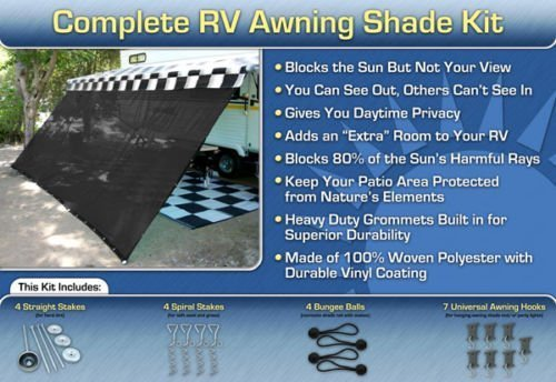 EZ Travel Collection RV Awning Shade Complete Kit (Black) (8' x 16')