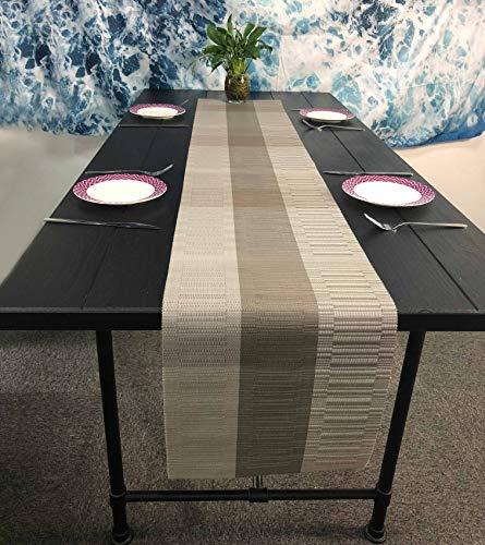 OSVINO Alfombrillas de vinilo de bambú de estilo europeo de 188 x 30 cm, resistentes al calor, antidecoloración, para casa, hotel, restaurante, camino de mesa, color gris claro