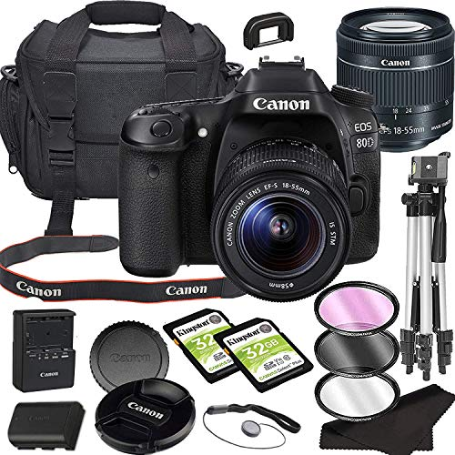 Canon EOS 80D DSLR Camera Bundle with 18-55mm STM Lens with Built-in Wi-Fi | 24.2 MP CMOS Sensor | DIGIC 6 Image Processor and Full HD Videos + 64GB Memory Bundle