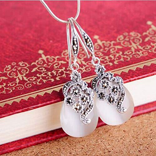 Erhuan Joyas Jade Angel Thai 925 Ágata de plata Marcasita Pendientes y Dangel Pendientes