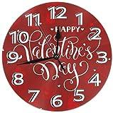 Mailine Reloj de Pared Corazón de San Valentín Reloj de Pared Decorativo Silencioso Sin tictac - Redondo Fácil de Leer Reloj Decorativo