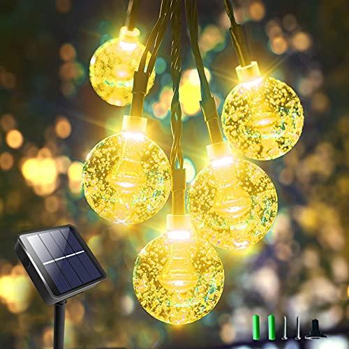 Solar String Lights Outdoor Garden, Gaheslop Solar Lights, 36FT 60LED Crystal Ball Decorative Lights Solar Power, 8 Modes Changing Solar Fairy Lights String Waterproof for Outside Patio, Gazebo,Yard