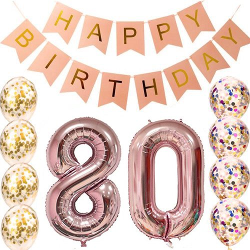80th Birthday Decorations Party supplies-80th Birthday Balloons Rose Gold,80th Birthday Banner,Table Confetti Decorations,80th Birthday for Women,use Them as Props for Photos (Rose Gold 80)