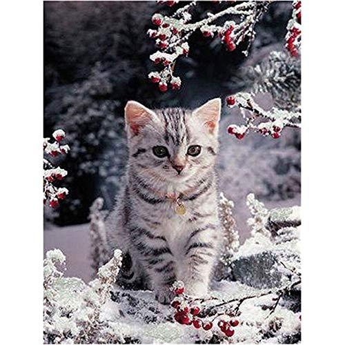 Kit de pintura de diamante 5D para adultos y niños, juego completo redondo para punto de cruz, manualidades para decoración de la pared del hogar, gato en la nieve, 2 30 x 39,9 cm por Lazodaer