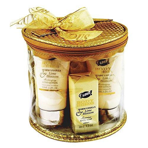 GLoss - Coffret De Bain Pour Femme - Trousse de Bain incluant une crème pour les mains - Collection Body Luxurious - Vanille et Tilleul