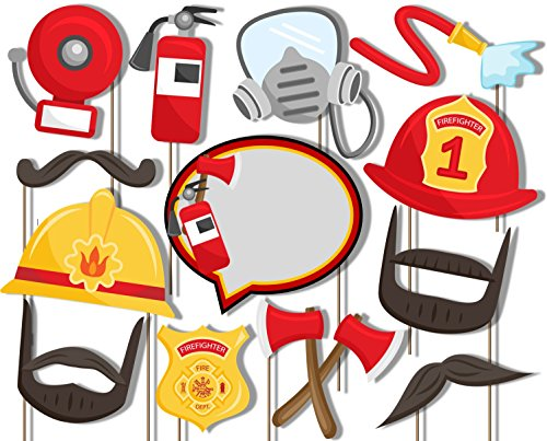 Fire Fighter Photo Booth Props Kit - 20 Pack Party Camera Props Fully Assembled