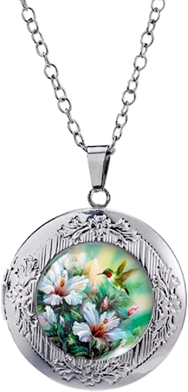 Manufacturer direct delivery Deluxe Locket Necklace Hummingbird White Flowers and