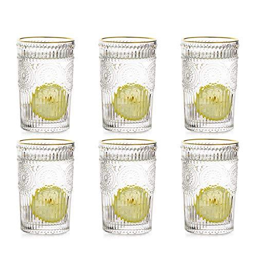 Vasos De Agua para Beber 400 Ml con Borde Dorado, Vasos Vintage, Juego De 6 Vasos Altos para Jugo, Café, Té para Fiestas, Bares