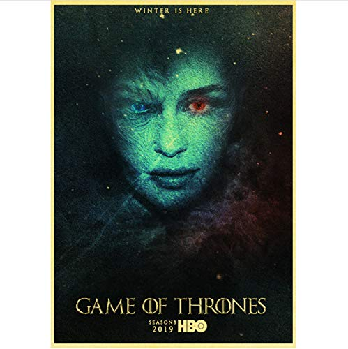 qiaolezi Print On Canvas Game of Thrones Season 8 Poster 2019 New Movie Vintage Posters Art Retro Wall Pictures For Living Room Decor A986 50×70CM Without Frame