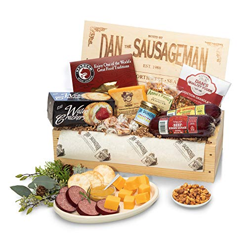 Dan the Sausageman's Favorite Gourmet Gift Basket -Featuring Dan's Original Sausage, Seabear Salmon, 100% Wisconsin Cheeses, and Dan's Sweet Hot Mustard