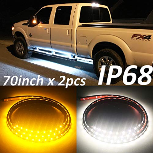 Fuguang [2PC-70inch] IP68 LED Board Running Light Truck Side Marker Flexible Step Strip Lights White & Amber Turn Signal Combo Kit (IP68)