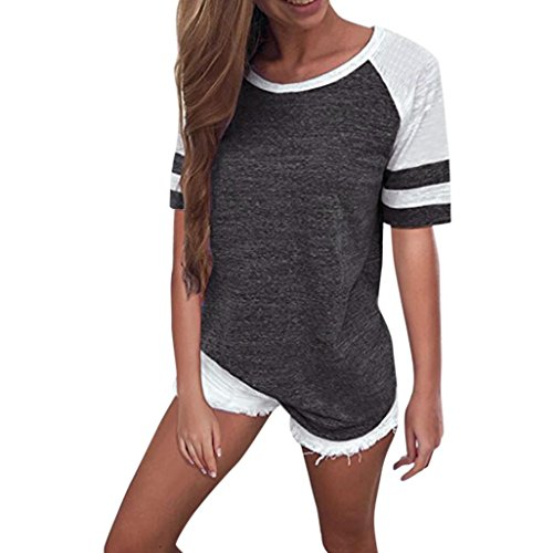 OVERDOSE Mode Damen Frauen Rundhals Lange Hülsen Spleiß Blusen Oberseiten Kleidung T-Shirt Tops Pullover (M, W-Kurzarm-Dark Gray)