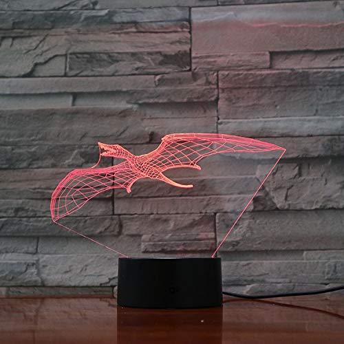3D Lampe Optische Led Täuschung Nachtlicht,Dinosaurier-Pterodaktylus Tischlampe 7 Farben Nachttischlampen Für Kinder Weihnachten Geburtstag Beste Geschenk Spielzeug