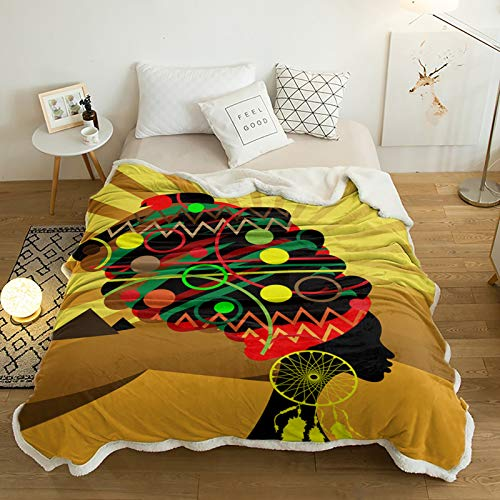 Yun Nist Sherpa Fleece Throw Blanket African Tribal Woman Ethnic Girl Super Soft Reversible Blankets, Wram Cozy Throws for Sofa Couch Bed Yellow Orange Sunset 60x80in