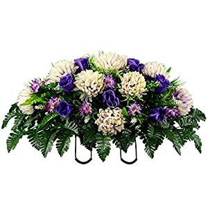 Sympathy Silks Artificial Cemetery Flowers – Realistic Vibrant Roses, Outdoor Grave Decorations – Non-Bleed Colors, and Easy Fit – 1 Lavender Cream Mum and Purple Rose Saddle for Headstone