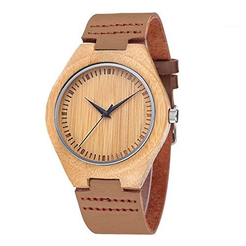 iMing Fatto a mano Orologio in legno naturale in vera pelle Band venatura del legno polso orologi regali (marrone)
