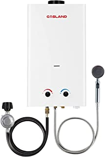 Tankless Water Heater, Gasland Outdoors BS318 3.18GPM 12L Outdoor Portable Gas Water Heater, Instant Propane Water Heater, Overheating Protection, Easy to Install, Use for RV Cabin Barn Camping Boat
