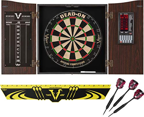 Viper Vault Deluxe Dartboard Cabinet with Integrated Pro Score, Dead On Dartboard, Toe Throw Line, and Black Mariah Steel Tip Darts ,Mahogony Finish