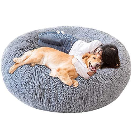 Jumbo Extra Large xxxl Dog Bed Orthopedic Donut Calming Anti Anxiety Cushion Fluffy Plush Sofa Wicker Heated Cave XXL Sleep Basket xl Washable Medium grey