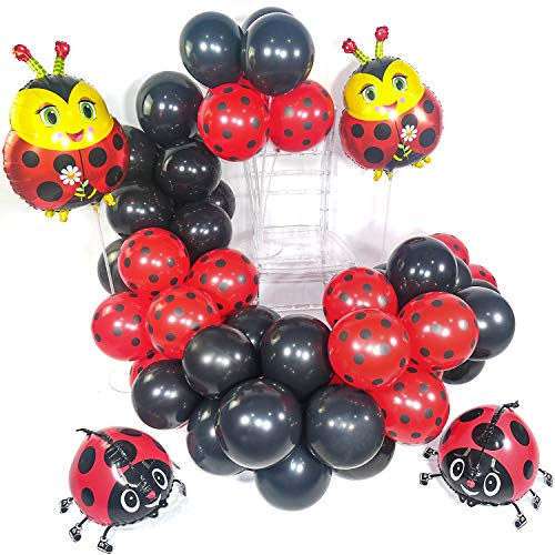 PartyWoo Ladybug Party Luftballons, 44 Stück Luftballons Rot, Luftballons Schwarz, Ladybug Folienballon und Airwalker Ballons, Marienkäfer Luftballon Satz für Ladybug Party, Ladybug Geburtstagsparty