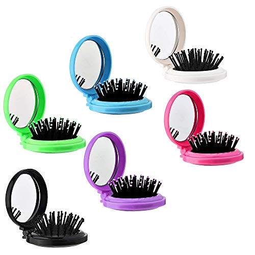 Klapp Reisespiegel Haarbürsten Runde, 6 Stücke Klapp Haarbürste, Mini Haarbürste Folding-Kamm, Faltbare Reisebürste Taschenspiegel für Camping/Reisen/Tourismus
