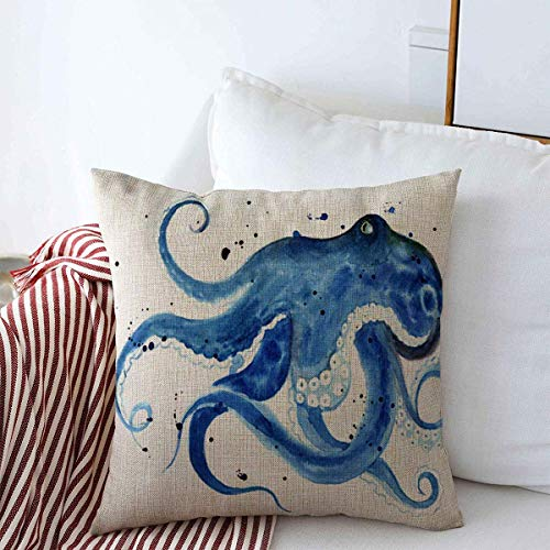 Staroden Pillow Case Watercolor Ink Blue Octopus Sketch Realistic Life Ocean Water Bottom Clever Design Tee Home Decor Throw Pillows Covers 18'x18' for Winter Decorations