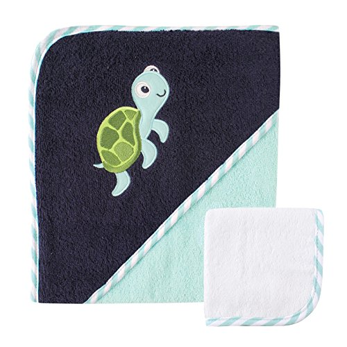 Luvable Friends Unisex Baby Cotton Hooded Towel and Washcloth, Turtle, One Size