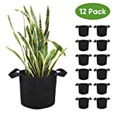 Brajttt 7Gallon Grow Bags Set, Aeration Fabric Pots with Handles,Black Plant Bags,Durable ...
