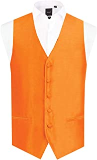 Dobell Mens Orange Waistcoat Regular Fit Dupion 5 Button