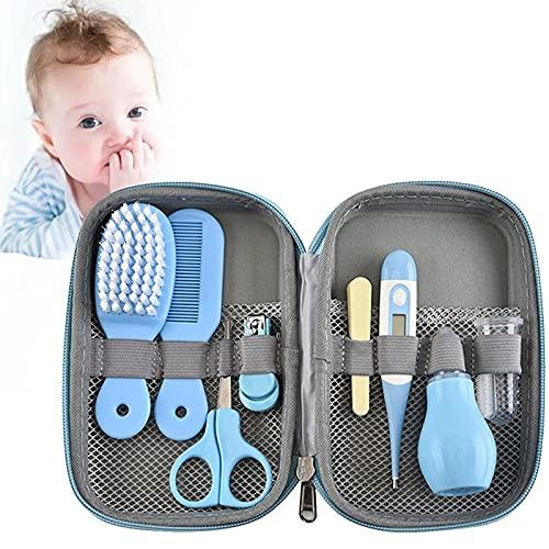 Set para Cuidado del Bebé, 8 En 1 Set Neceser para Cuidado del Bebé con Cuchara De Oreja, Cortaúñas, Aspirador Nasal, LIM a De Uñas Bebe, Termómetro Digital, Bebé Kit De Cuidado De Salud Seguro