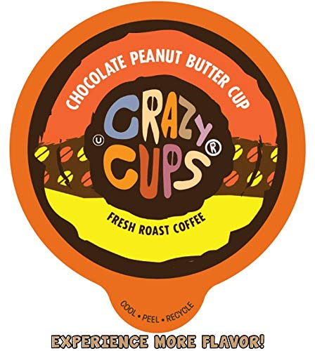 Crazy Cups Flavored Coffee Pods for Single Serve Keurig K-Cups Machines, Chocolate Peanut Butter Cup, Hot or Iced Coffee, Recyclable Pods, 22 Count
