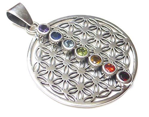 Chakra Anhänger, Silber mit Steinen, Kettenanhänger Blume des Lebens, mit Chakra Steinen, aus 925% Sterling Silber filigran gearbeitet,Geschenk, Schmuck für Frauen, Schutzsymbol