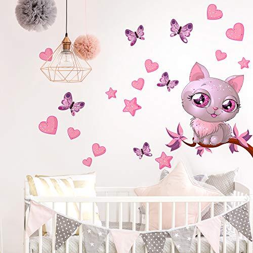 R00076 Adesivi Murali Soffice Effetto Tessuto Gattino Decorazione Muro Bambino Neonato Nursery Cameretta Asilo Nido Carta da Parati Adesiva