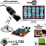 Microware 50-500X 2MP USB 8 LED Light Digital Microscope Endoscope Camera Magnifier