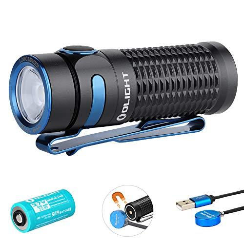 Olight Baton 3 Torcia LED Piccolo Potente Professionale Ricaricabile, 1200 lumen 6 modalità IPX8 impermeabile, Mini Torce led alta Potenza per Campeggio Emergenza Sicurezza, con 16340 Batteria,Nero
