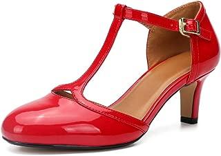 Women's Mary Jane Pumps Low Kitten Heels Round Toe Retro Shoes T-Strap D'Orsay Prom Dress Shoe Plus Size ZY19-5