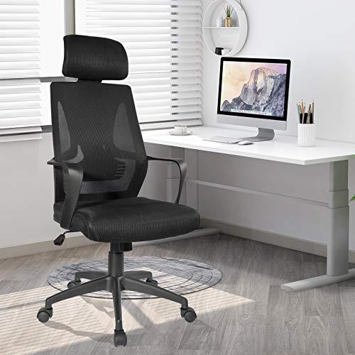 Twomaples Schreibtischstuhl Ergonomisch Bürostuhl Hoher Rückenlehne Computerstuhl Desk Chair Office PC Stuhl Chefsessel Drehstuhl mit Rollen, Verstellbarer Kopfstütze