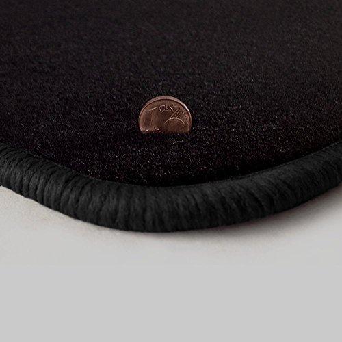 (Q300, Rand wählbar) Passgenaue Fußmatten aus schwarzem Velours und Rand in Schwarz (300) für Toyota MR2 W3 Baujahr 2000-2005