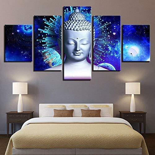 5 Pieces Canvas Wall Art Buddha Picture Prints Modern Home Office Living Room Wall Decoration Artwork Picture Framed Stretched Ready to Hang Creative Gift (60''Wx32''H).