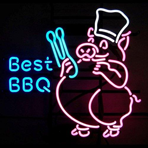Best BBQ Panneau lumineux néon en verre véritable pour maison, bar, pub, salle de jeux, fenêtre, garage, mur de magasin (43,2 x 35,6 cm)