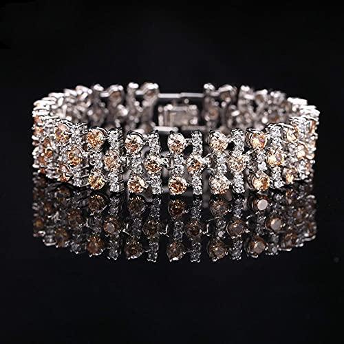 CHWEI Knitted Hat Bracelets pour Femme Bijoux De Mode pour Femmes Couleur Argent Zircon Cubique Connecté Bracelet De Tennis pour Mariage Parrt Cadeau Mode Champagne