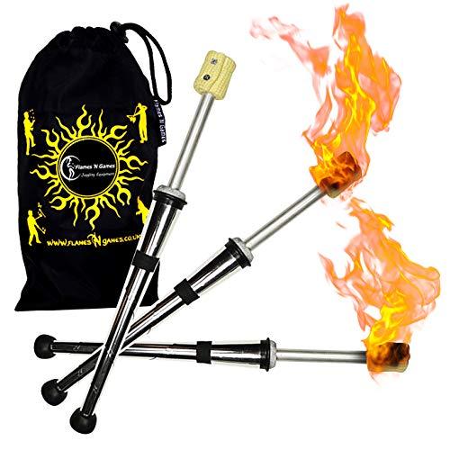 Juggle Dream 3X Pulsar Fuego Malabares Antorchas Pro Malabares Fuego Antorcha Juego de 3 + Flames N Games Bolsa de Viaje. Excelente Juego de Entrenamiento de antorchas para Hacer Malabares con Fuego.
