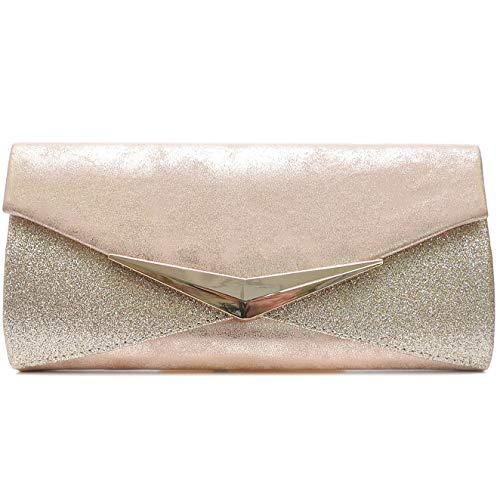 Vain Secrets Damen Umhänge Taschen Abendtasche Clutch in vielen Farben (25 cm Lang - 12 cm Hoch - 5 cm Breit, Champagne 2)