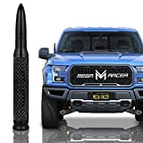 Mega Racer 50 Cal Bullet Antenna - Black Carbon Fiber 5.5 Inch AM/FM Compatible Universal Fit for Truck, Solid Aluminum with Anti-Theft Design and Car Wash Safe
