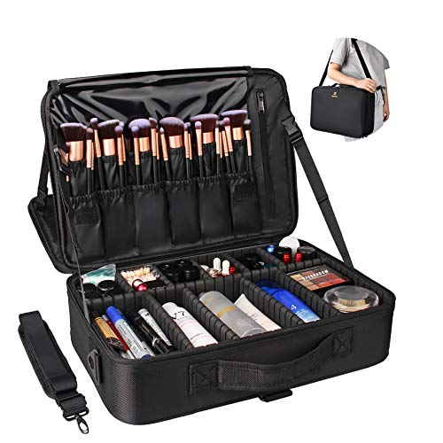 """Relavel Professional Makeup Train Case Cosmetic Bag Brush Organizer and Storage 16.5"""" Travel Make Up Artist Box 3 Layer Large Capacity with Adjustable Strap (Black)"""